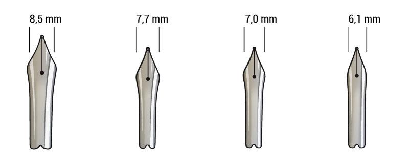 Füllhalter-Feder Flügelbreiten 8,5 mm, 7,7 mm, 7,0 mm und 6,1 mm